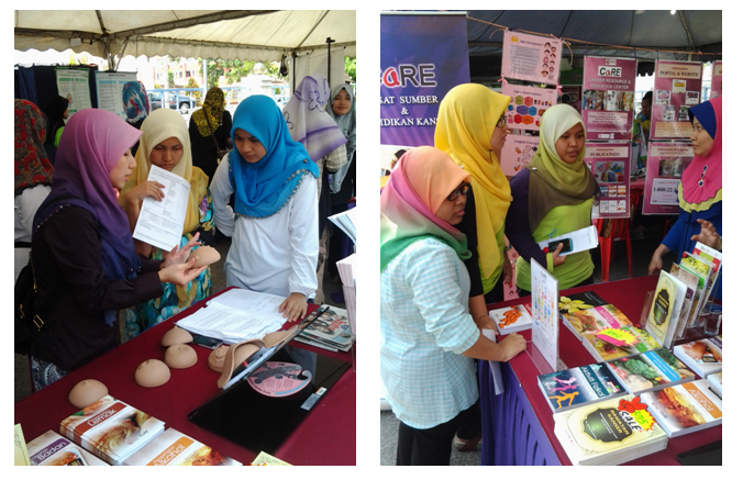 Visitors were listening to the explanation regarding breast cancer and CaRE�s publication